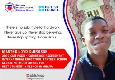 Master Loyd Djirosse 2019 CAIE PSGN Award for Best Student in French in Ghana